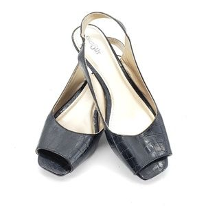 East 5th Black Wedge Sandals Womens Size 8.5W